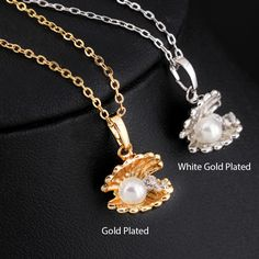 Cute Girls Gold Plated Pearl Shell Pendant Necklace Pendant Necklaces | Buy Wholesale On Line Direct from China