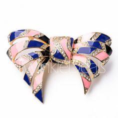 Trendy Women's Rhinestone Embellished Bowknot Shape Brooch Pins