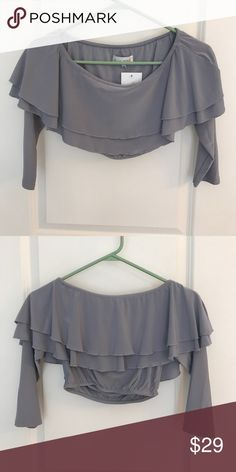 NWT In The Style off Shoulder Crop Top Size 6 NWT. This is a gray crop top five in the style. It can be either worn on top of the shoulder or off the shoulder. It comes up right below the breast phone. And the sleeves are about mid quarter. Very cute on. It says it's a size 6 and I believe that translates to a size small and USA sizes. No trades. Reasonable offers only and thanks for looking. In The Style Tops Crop Tops