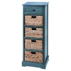 "Wood cabinet with 1 drawer and 4 pull-out wicker baskets.   Product: Cabinet Construction Material: Wood and wickerColor: Blue and brownFeatures:  Four shelves and one top drawerFour baskets included Dimensions: 45"" H x 16"" W x 13"" D"
