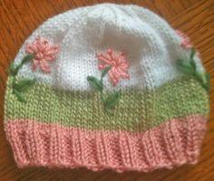 Preemie hat  knit  pretty colours / design