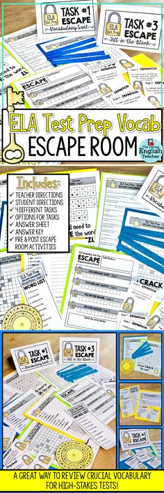 Prepare your students for high-stakes testing with this fun and engaging vocabulary-focused test prep escape room. Ideal for the middle school and high school ELA classroom, this escape activity includes common words found on the SBAC and PARCC tests. 7th Grade Ela, 6th Grade Reading, Fourth Grade, Sixth Grade, Middle School Ela, Middle School English, Escape Room, The Middle, Student Learning
