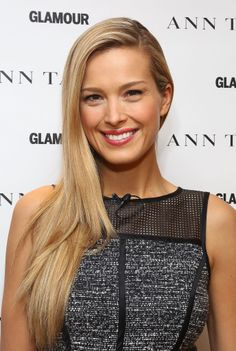 Petra Nemcova with the sideswept look at @Glamour's International Women's Day celebration.