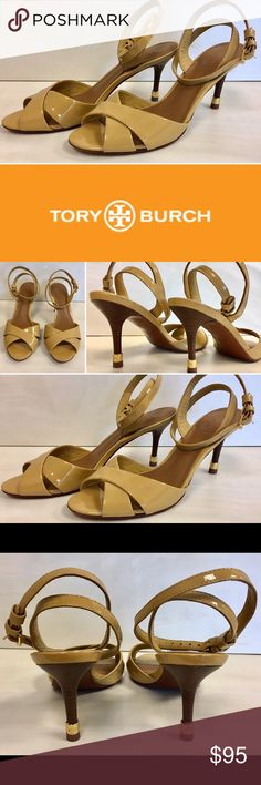 Tory Burch Tania Nude Patent leather ankle strap Incredible nude/iced coffee patent leather ankle strap Heels/sandals are very gently used and gorgeous on.  Wood stacked heel with gold TB accent on heel,  Ready to wear out on the town. Tory Burch Shoes Heels