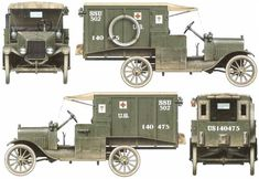 Ford Ambulance AEF (1917) Rescue Vehicles, Army Vehicles, Ford Ambulance, Vintage Cars, Antique Cars, Ww1 Tanks, Plastic Model Cars, Military Modelling, Car Advertising