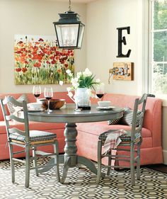 Farmhouse Dining Room Ideas are adorable and lasting, this is simple and stunning rustic farmhouse to impress your dinner guests. Find more about farmhouse dining style joanna gaines, french country, Kitchen Banquette, Farmhouse Dining Room Table, Dining Room Table Decor, Banquette Seating, Kitchen Nook, Dining Room Design, Dining Furniture, Kitchen Decor, Diy Table