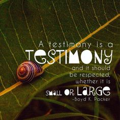 A testimony is a testimony and should be respected whether it is small or large - Boyd K. Gospel Quotes, Mormon Quotes, Lds Quotes, Religious Quotes, Quotable Quotes, Spiritual Quotes, Great Quotes, Quotes To Live By, Inspirational Quotes