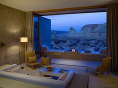 Your suite at the AmanGiri in Big Water, Utah comes complete with campfire for roasting marshmallows and views to the stunning rock formations. The design team responsible for the minimal aesthetic is the collaborative I-10 studio, comprised of renowned architects rick joy, marwan al-sayed, and wendell burnette.