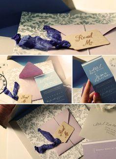 ariel's wedding invitation, a subtle alice in wonderland theme      #alice #wonderland #invitation #wedding umamaonline.com