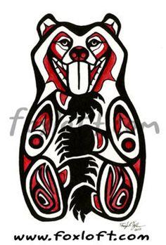 Stylish Native American Art Life Bear Painting Print - Northwest Coast Native American Watercolor totem bears wall art picture s Arte Inuit, Arte Haida, Haida Art, Inuit Art, Haida Tattoo, Totem Tattoo, Native American Tattoos, Native American Symbols, Native American Totem Poles