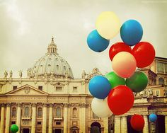 Rome photography, Vatican city, Italy photograph, baloons, carnival, party, architecture print, travel photography for beautiful home decor