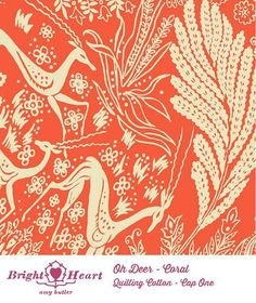 Amy Butler Bright Heart Oh Deer Coral Fabric - Fabric by Pattern - Fabric