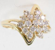 Ladies-14k-Yellow-Gold-1-Ct-Cttw-Diamond-Cocktail-Cluster-Estate-Ring $494.99