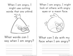 Angry Birds Anger Feelings workbook. This was an excellent social skills activity in my classroom. We completed it together on the SmartBoard.