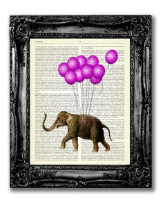 ELEPHANT FLOATING ON PINK BALLOONS ...................................................................................... Buy 2, get 1 FREE ! After purchasing 2 prints - pick 1 freebie and leave the full name of the print in the *Note to TopLondonPrintst* Box during