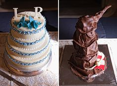 Harry Potter wedding cake... Like the Sorting Hat best!!