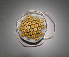 """brooch - enamel on copper, sterling silver  3"""" x 3.5"""" x .25""""-""""Honey""""-Danielle Embry"""