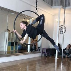 """Aerial Canvas on Instagram: """"With a bit more training this could be cool! @aleishamanion thanks for the company ☺️#forcedPendant #newtransitions #aerialhoop…"""""""
