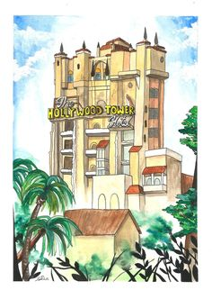 The Hollywood Tower of Terror Inspired Disney World Art Print | Etsy Hollywood Tower Of Terror, Hollywood Tower Hotel, Disney World Theme Parks, Disney Parks, Yoshi's Woolly World, Gouache Painting, Hollywood Studios, Picture Show, Taj Mahal