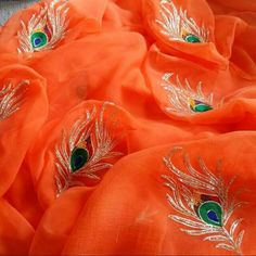 Pure chiffon peacock feather worked chiffon saree