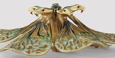 """René Lalique, París. Broche 'Bloom Serpiente """". Bloom '. Oro, esmalte plique à jour. Ca 1899."""