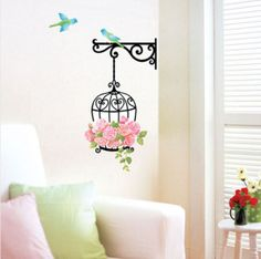 Wall Stickers Home Decor Living Room 1 PC Romantic Flower Bird Cage Decals Wall Sticker Removable Art Mural Wholesale >>> You can find more details by visiting the image link. Bird Wall Decals, Flower Wall Stickers, Wall Stickers Home Decor, Wall Stickers Murals, Home Wall Decor, Room Decor, Flower Bird, Flower Paper, Rose Flowers