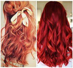 capelli lunghi mossi rossi ramati fiocco