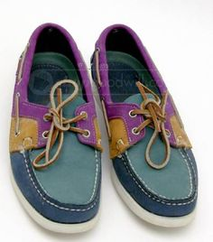 Sebago Docksides Deck Shoes - Purple / Green / Teal
