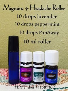 (YL PanAway = doTerra Deep Blue) Migraine and headache roller using Peppermint, PanAway and Lavender oils. All included in the Young Living premium starter kit. Essential Oils For Migraines, Yl Essential Oils, Essential Oil Diffuser Blends, Young Living Essential Oils, Migraine Essential Oil Blend, Yl Oils, Essential Oil Stretch Marks, Essential Oil Bug Spray, Essential Oil Mixtures