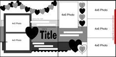 6 photos double page scrapbook layout sketch...you could substitute any shape for the hearts for multiple options