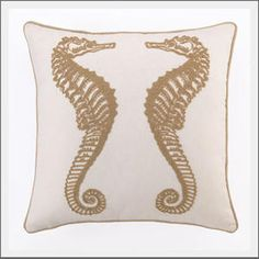Seahorse pillow. Seahorse pillow for the coastal style home or where you just want to infuse a little summer fun. Large scale design lends a modern element to this iconic, gentle sea creature. The thick french knot embroidery adds texture and interest.
