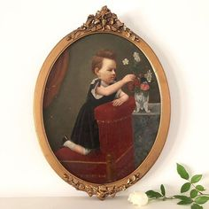 This little girl should probably be sitting quietly in her chair.but her curiosity and sense of play has her leaning over the back, to touch and admire the vase of. Girls With Flowers, Victorian Era, Curiosity, Flower Vases, French Antiques, Vintage Art, 19th Century, Little Girls, Frame