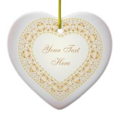 Message From The Heart - Gold 2 - Heart Ornament