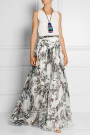 Matthew Williamson Printed silk-chiffon maxi skirt