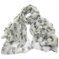 ladies scarf White Bicycle design scarves shawls wrap neck soft fashion Print