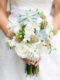 Succulent and Scabiosa Bouquets- less blue, more green