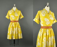 Vintage 1960s cotton floral yellow day dress / by NodtoModvintage, $66.00