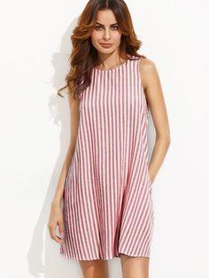 Vestido de rayas y espalda con abertura -Spanish SheIn(Sheinside)