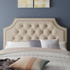 Darby Home Co Devitt Upholstered Panel Headboard Size: King/California King, Upholstery: Ivory White Headboard, Wingback Headboard, Queen Headboard, Panel Headboard, Queen Canopy Bed, Bed Base, Hooker Furniture, Adjustable Beds, Beige Walls