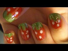 Video Tutorial: Strawberry Nails - http://www.nailtech6.com/video-tutorial-strawberry-nails/