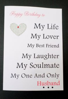 Details about Handmade Personalised Birthday Card – Husband Fiance Boyfriend