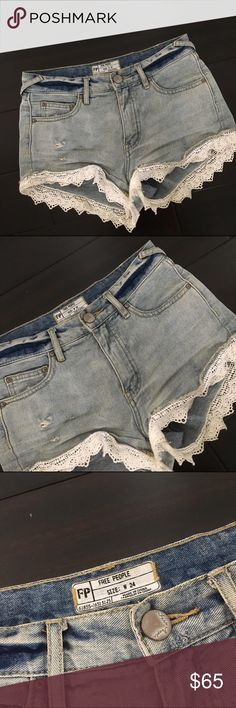 FREE PEOPLE LACEY DENIM CUTOFF SHORTS free people lace denim shorts in a size 24 in women's. mind you these do run a bit big i'm no way a size 24 i actually fit a 25/26 but these shorts fit me perfectly. also the shorts are not dirty that is just the wash of them. *accepting offers* Free People Shorts Jean Shorts