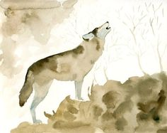 WOLF Original watercolor painting 10x8inch by dimdi on Etsy-  I had her do a custom piece she is wonderful