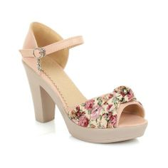 Sweet Women's Sandals With Floral Print and Chunky Heel Design