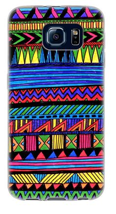 Amazon.com: {Aztec Marker Drawing} Soft and Smooth Silicone Cute 3D Fitted Bumper Back Cover Gel Case for Samsung Galaxy S6 {Color is Blue, Green and Black: Cell Phones & Accessories