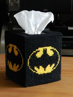Plastic Canvas Tissue Box Patterns | Batman Tissue Box Cover - Homespooled