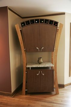 Jim Wirtz's Woodworks, Milwaukee, WI. Unique wine rack, cabinetry, storage furniture