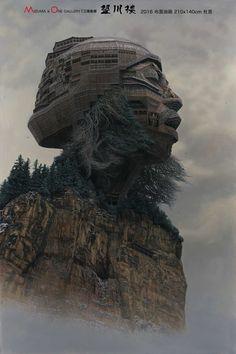 Retratos de rockstars chinos imitando templos monumentales