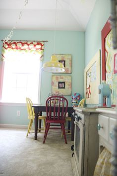 Fun colors & adorable details in this playroom from the handmade home.