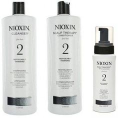 Nioxin System 2 Cleanser & Scalp Therapy Duo (Liter Size) + System 2 Scalp Treatment (6.8 oz)
